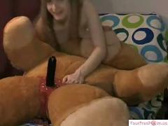 Super horny girl riding her bear like crazy part1