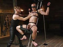 Gay master puts his cute slave through plenty of pain and humiliation