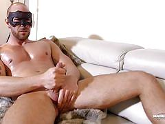 Masked, muscular man masturbates magnificently!