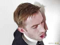 big tits, babe, gloryhole, blowjob, work, standing, brunette, public toilet, big dick, clothed sex, big tits at work, brazzers network, danny d, susy gala