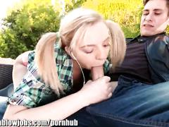 blonde, blowjob, small tits, onlyteenblowjobs, only-teen-blowjobs, outdoors, teen, small-tits, piercings, knee-high-socks, petite, teenager, young, cock-sucking, oral, pig-tail, outside