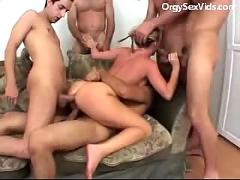 Hot blonde fucked by group of guys