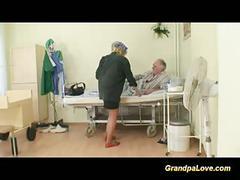 Grandpa babe fucking a nice brunette nurse giving blowjob