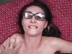 small tits, facial, glasses, cumshot, blowjob, brunette, titjob, pov, dorky chick, cum covered glasses, alesha bizart