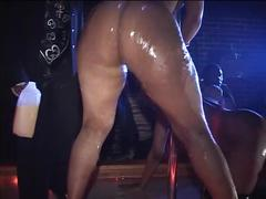 Flexible black stripper on the stage dacing