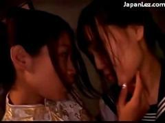 4 asian girls kissing rubbing undressing