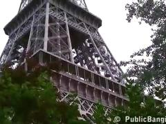 Extreme public sex threesome by the world famous landmark eiffel tower in paris
