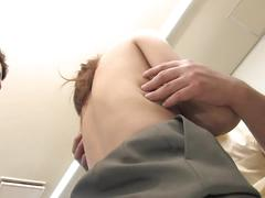 Office slut plays with two guys jizz after threesome