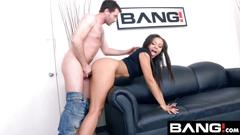 Bang casting adrian maya gets a raw rough throat fucking