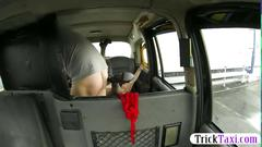 Nasty skank in stockings twat pounded by fake driver