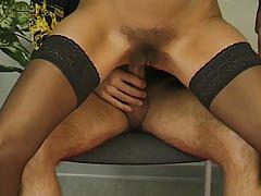 hardcore, tube8.com, brunette, stockings, hairy pussy, cock sucking, fingering, pussy rubbing, milf, small tits, reverse cowgirl, german, doggy style