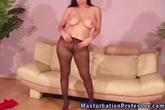 Busty pantyhose wearing babe couch strips