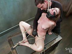 sadism, babe, torture, vibrator, pussy rubbing, suffocation, tied redhead, rope bondage, sadistic rope, kink, sahara rain