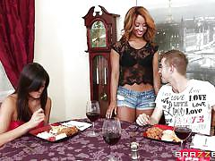 teen, blowjob, busty, big dick, under table, short jeans, brown haired, teens like it big, brazzers network, teanna trump, danny d
