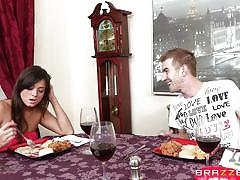 Sucked at dinner by a slutty teen