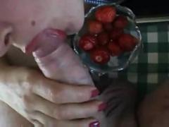 Cum on food - strawberries