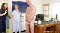 Cfnm nurse checking the guys dick up