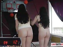 Two really cute girls have a strip shoot-off