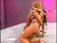 lesbian, blonde, bikini, brunette, oil, wrestling