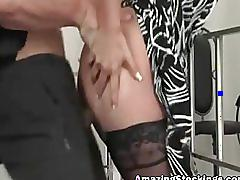 Amber edlin milf in black stockings (german dub)