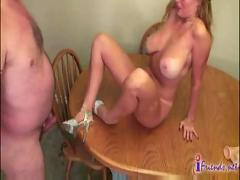Hot milf deep throated and fucked on kitchen table