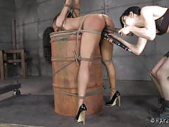 bdsm, lesbians, ebony, brunette, tied up, ropes, ball gag, mouth gagged, bastonnade, barrel, hard tied, elise graves, nikki darling