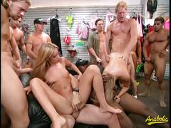 Two amazing blondes get fucked by a gang