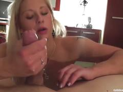 Hot blonde sucking cock