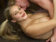 Big tits blonde maria gets a creampie during sex