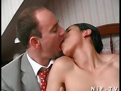 French hairy slut gets double anal penetrations