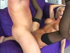 Busty blonde fucked in nylons