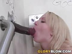 Katrina tastes black cock at gloryhole
