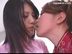 Cute asian girl in white stocking getting her nipples pussy licked