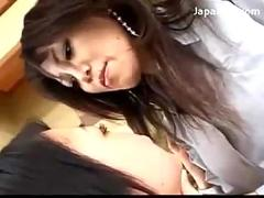Asian lady getting her nipples pussy licked by younger girl 69