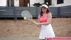 Oldvsyoung teen plowed with tennis racket