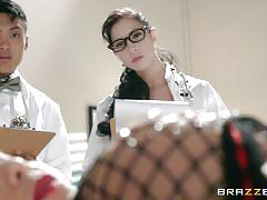 milf, tattoo, redhead, blowjob, vibrator, watching, fishnet stockings, scientists, doctor adventures, brazzers network, ryder skye, johnny sins