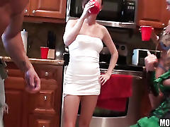 Drunken students fucking at costume party!