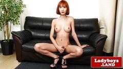masturbation, big tits, heels, redhead, shemale, solo, ladyboy