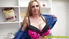 Bigtitted cougar milf jerks pov guy in closet