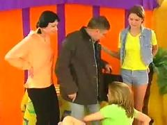 Incredible three young babes on older dude