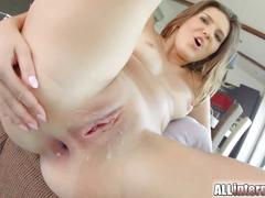 All internal fresh amateur gets anal creampie after ass fuck