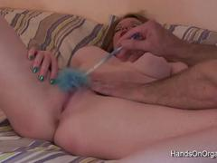 Girls cumming at the hands of a cameraman with strange toys