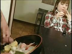 Japanese teen enjoys sperm on food!