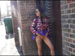 Sexy amateur public flashing and voyeur babe skylars outdoor