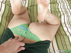 Busty babe swallows my dick