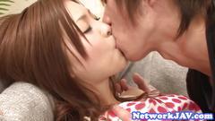Japanese teenie sucking and fucking hard