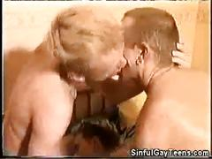 Lucky blonde bottom drowned with cum