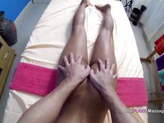 Bareback cute girl after massage