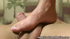 Femdom feet cummed on after a footjob