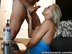 Wifey gets a face full of cum